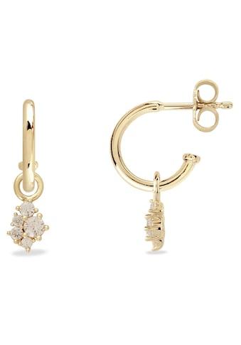 VILMAS Paar Creolen »Little Sparkle, 4028146652378«, mit Zirkonia und abnehmbaren Einhängern kaufen