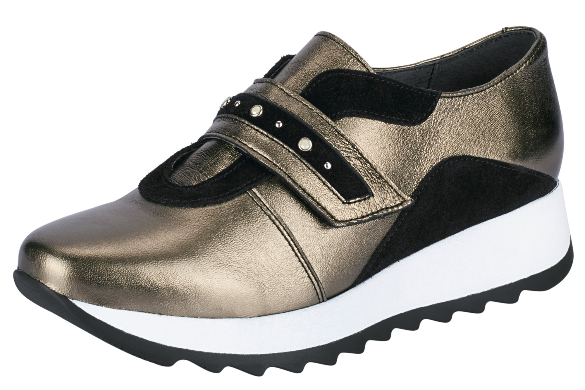 Plateau Sneaker Klett Slipper, Heine