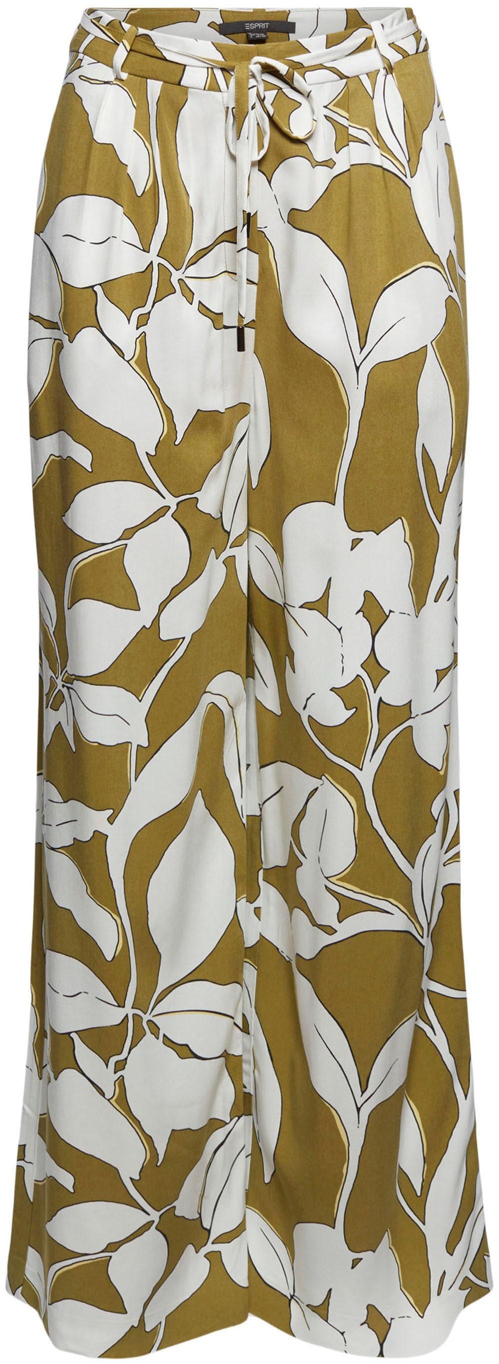 esprit collection -  Marlene-Hose, (2 tlg., mit Bindeband), mit großem Botanik-Print und weitem Bein