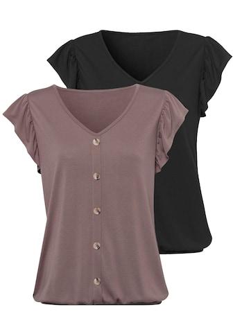 LASCANA T-Shirt, mit modischen Flügelärmelchen kaufen