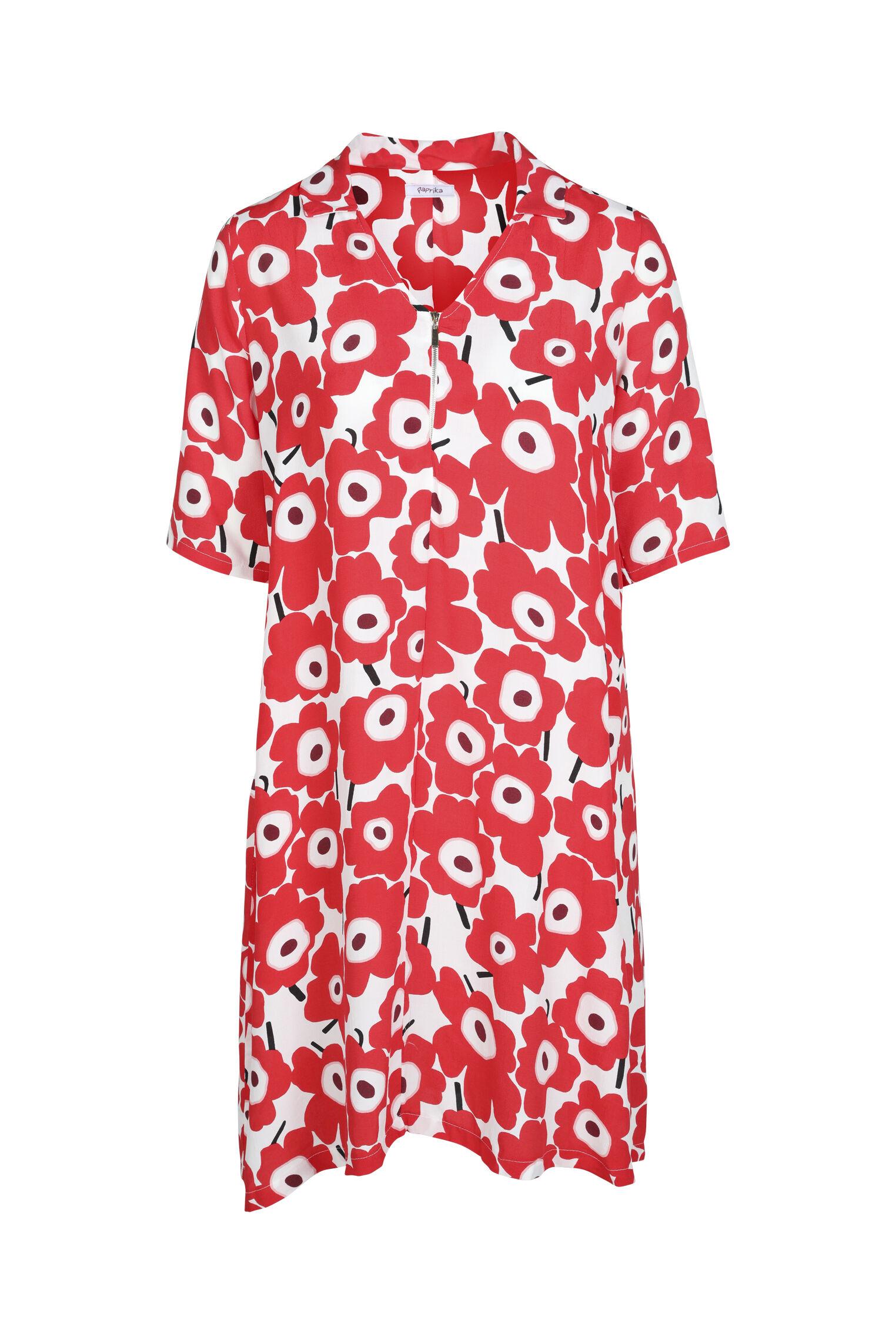 paprika -  Druckkleid Rundhals geblümt, bequem zu tragen