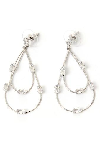 J.Jayz Paar Ohrstecker »Tropfen, mehrreihig, elegant«, mit Glassteinen kaufen
