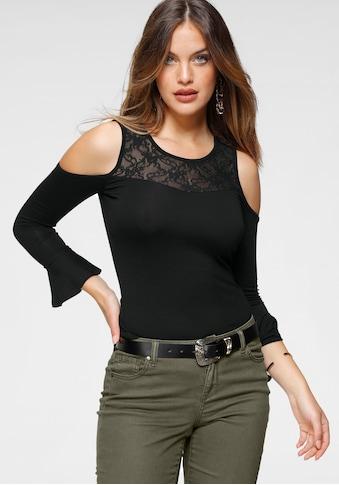 Melrose Rundhalsshirt, mit Spitze und Ärmel-Volant - NEUE KOLLEKTION kaufen