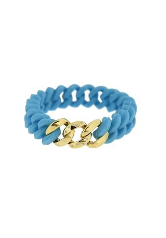 La Piora Armband »Flexibles Armband«, Panzer-Design in blau mit Zirkonia, 925/- Sterlingsilber vergoldet kaufen