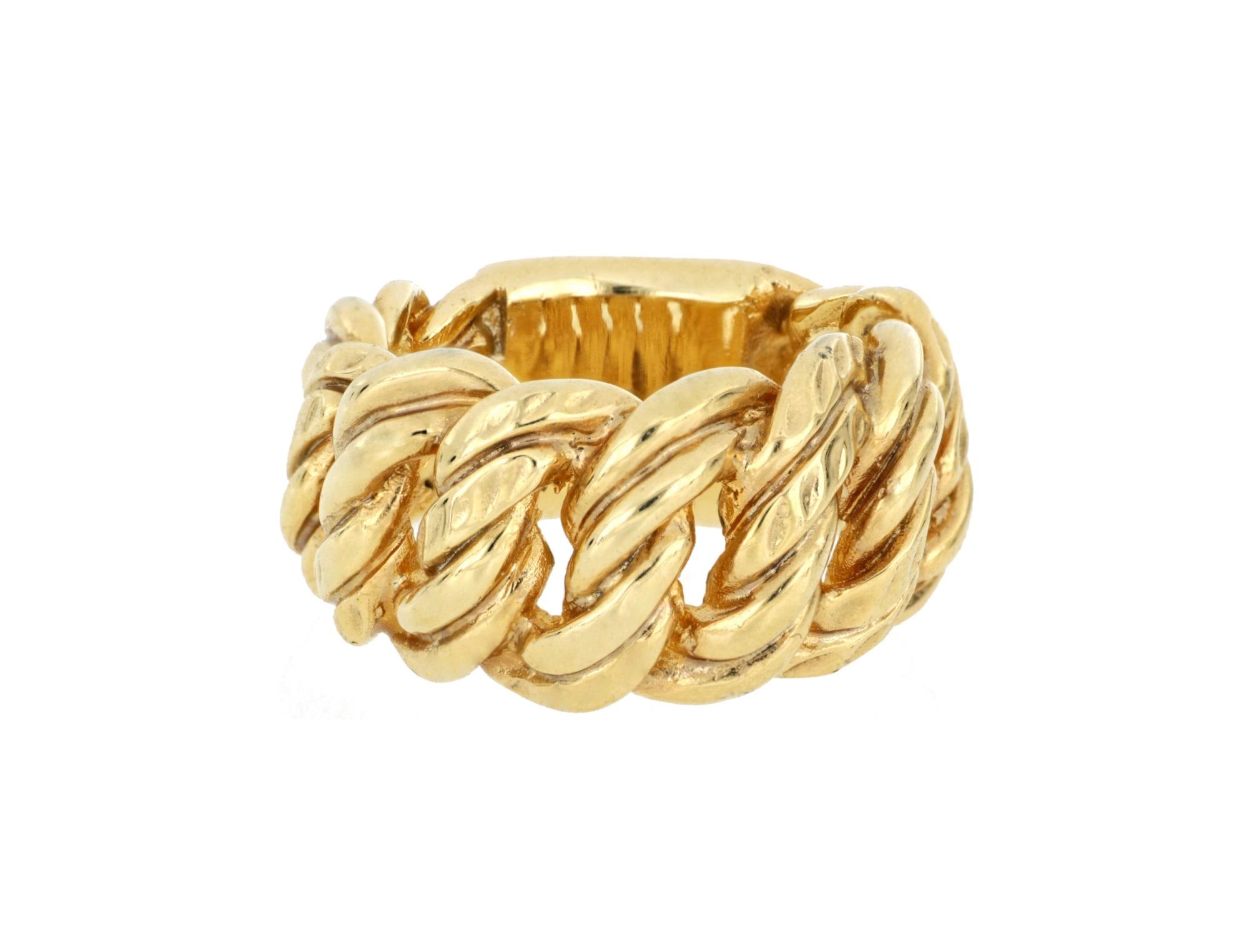 merch mashiah -  Fingerring Ring, Zwillingspanzer-Design, Bronze gelbvergoldet