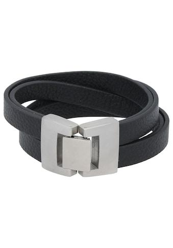 Jacques Charrel Armband »4 reihig, verschlungen, Leder schwarz, Edelstahl« kaufen