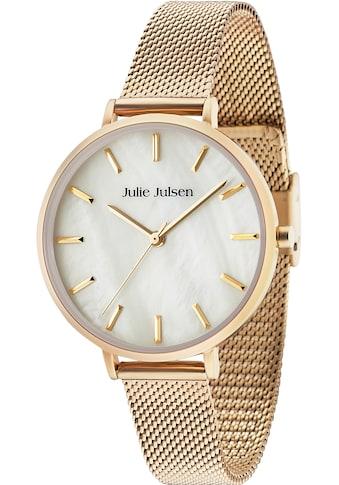 Julie Julsen Quarzuhr »PEARL SET, JJW40 - SET2« (Set, 3 tlg., Lederwechselband mit Blumenapplikationen und vergoldetes Silberarmband mit schwarzem Nylonband) kaufen