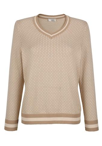 Mona V-Ausschnitt-Pullover, mit grafischem Jaquard-Muster kaufen