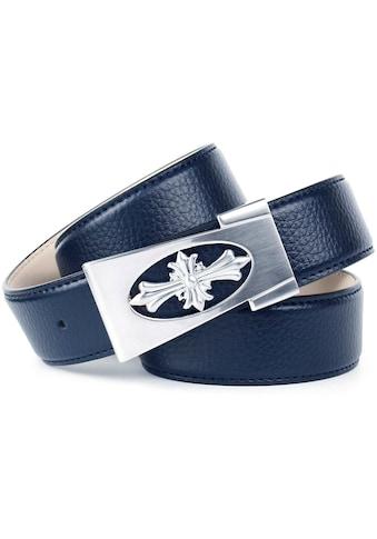 Anthoni Crown Ledergürtel, mit dekorativer Schließe, abgesteppte Ränder kaufen