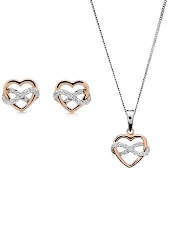 ORPHELIA Ohrring und Ketten Set »Herzen, Infinity-Zeichen, SET-7483«, mit Zirkonia kaufen