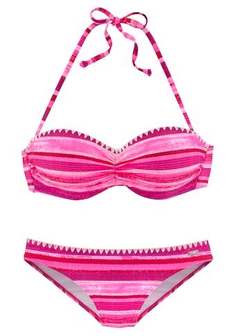 Buffalo Bügel-Bandeau-Bikini, In Batik-Optik und Häkelkante kaufen