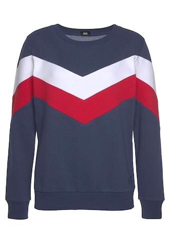 H.I.S Sweatshirt, mit Kontraststreifen an Vorderseite und Ärmeln kaufen