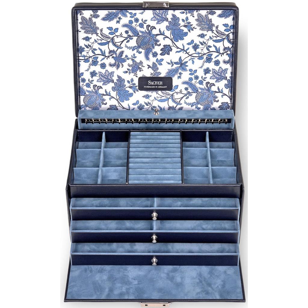 Sacher Schmuckkoffer »Helen/Florage, 72.501.014.008«, (5 tlg.), mit Blumenmuster innen im Deckel, Made in Germany