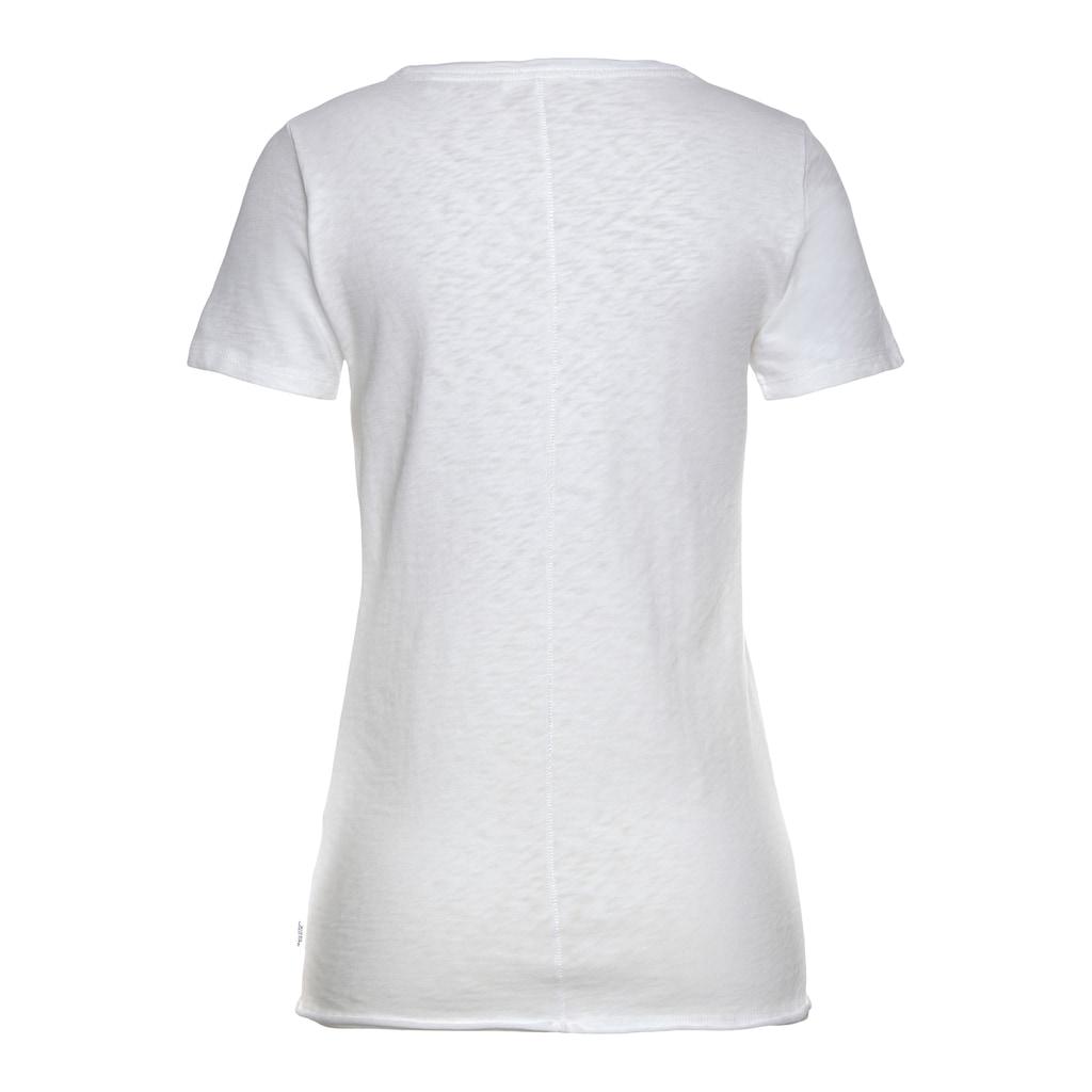 Marc O'Polo DENIM Rundhalsshirt, mit modischer geschittener Saumkante