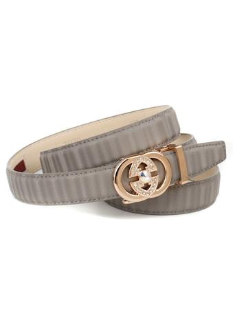 Anthoni Crown Ledergürtel, mit goldfarbener Automatik Schließe, Metallschlaufe kaufen