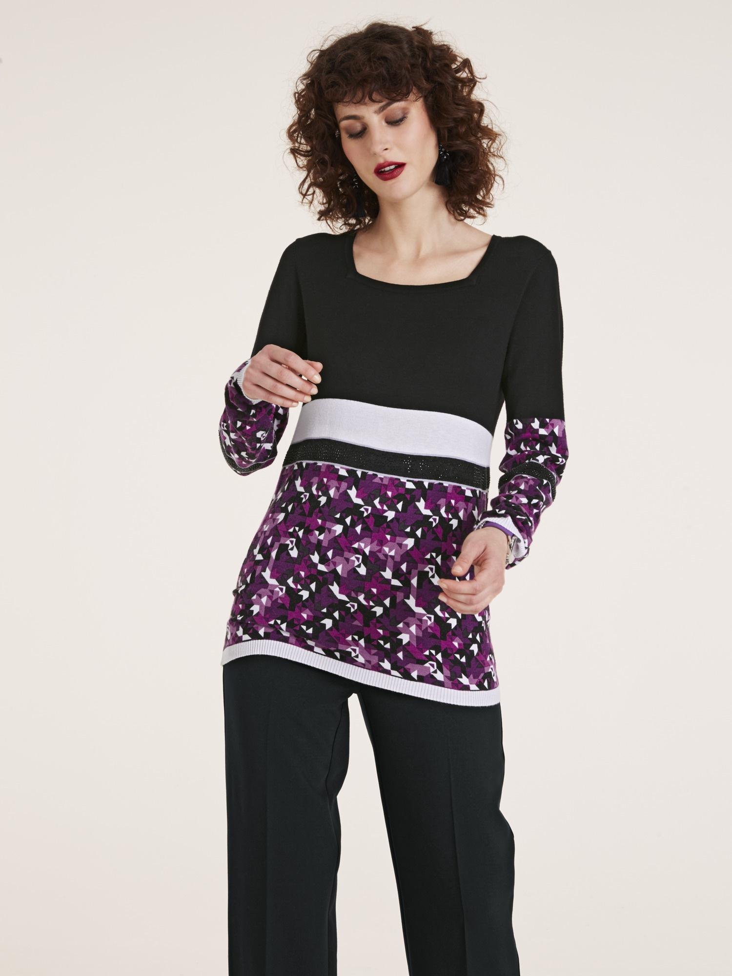 heine TIMELESS Pullover Graphic-Look mit Glitzersteinchen