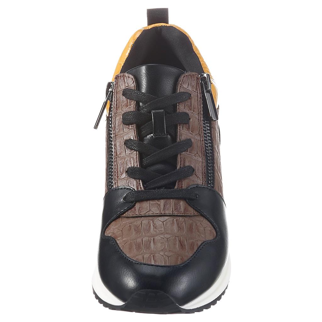 La Strada Wedgesneaker, mit angesagter Krokoprägung