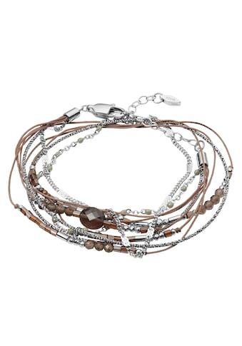 Fossil Armband »JF03536040«, mit Zirkonia, Glassteinen, Rauchquarz und Hämatit kaufen