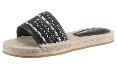 Tommy Jeans Pantolette »COLORED LACES FLAT SANDAL«, mit Bastbezug kaufen