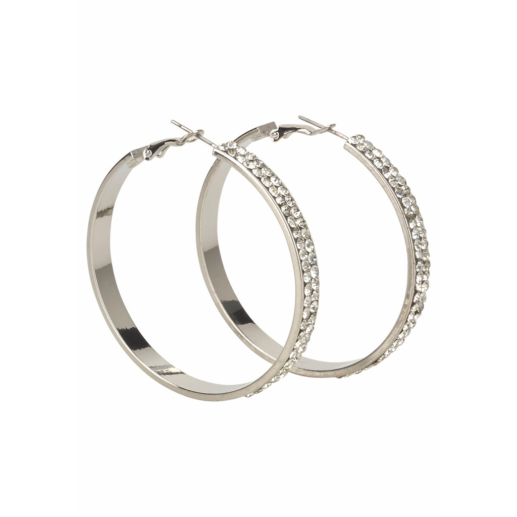 J.Jayz Paar Creolen »breitere Form im glamourösen Design, silberfarben«, mit Glassteinen