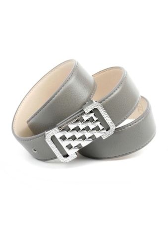 Anthoni Crown Ledergürtel, Graufarbener Ledergürtel mit Fashion-Schließe kaufen