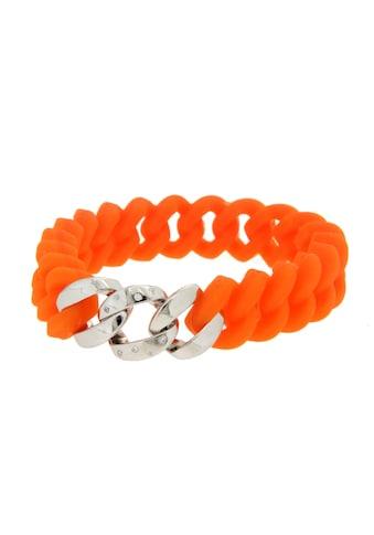 La Piora Armband »Flexibles Armband«, Panzer-Design in orange mit Zirkonia, 925/- Sterlingsilber rhodiniert kaufen