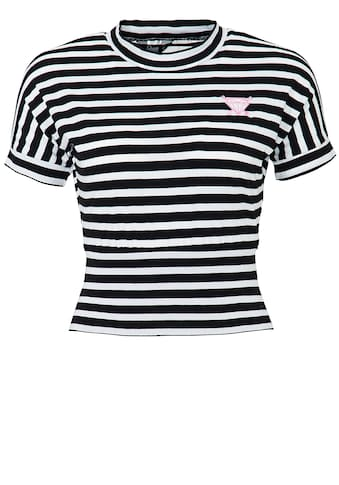 QueenKerosin Rundhalsshirt, im Streifenlook mit kleiner Stickerei kaufen