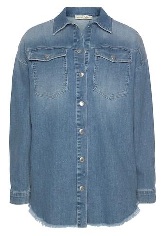 Please Jeans Jeansbluse »C 0NL«, im Used-Look und ausgefranster Saumkante kaufen