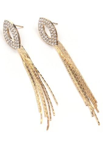 J.Jayz Paar Ohrstecker »Ellipsen, langer Behang, Glassteine«, mit Glassteinen kaufen