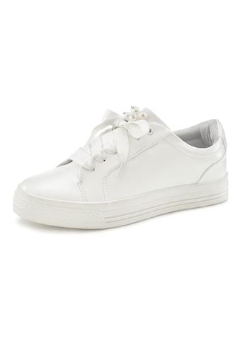 LASCANA Sneaker, mit Plateau und Perlen in Kroko-Optik kaufen