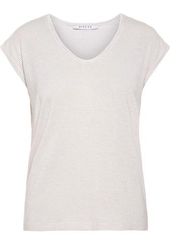 pieces Rundhalsshirt »PCBILLO«, mit gestreiftem Glitzer Effekt kaufen