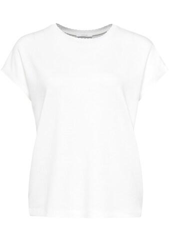 OPUS T-Shirt »Sudella crochet«, tolles Basic Shirt mit Häkelkante am Ausschnitt kaufen