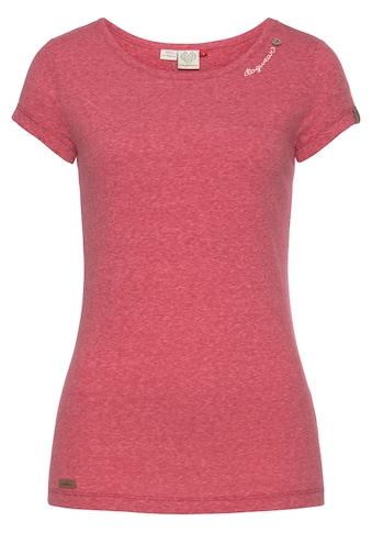 Ragwear Rundhalsshirt »MINT«, mit geschwungenem Logoschriftzug und Zierknopf in natürlicher Holzoptik kaufen