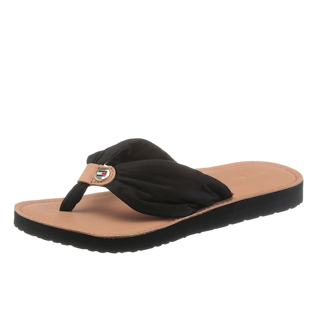 TOMMY HILFIGER Zehentrenner »LEATHER FOOTBED BEACH SANDAL«