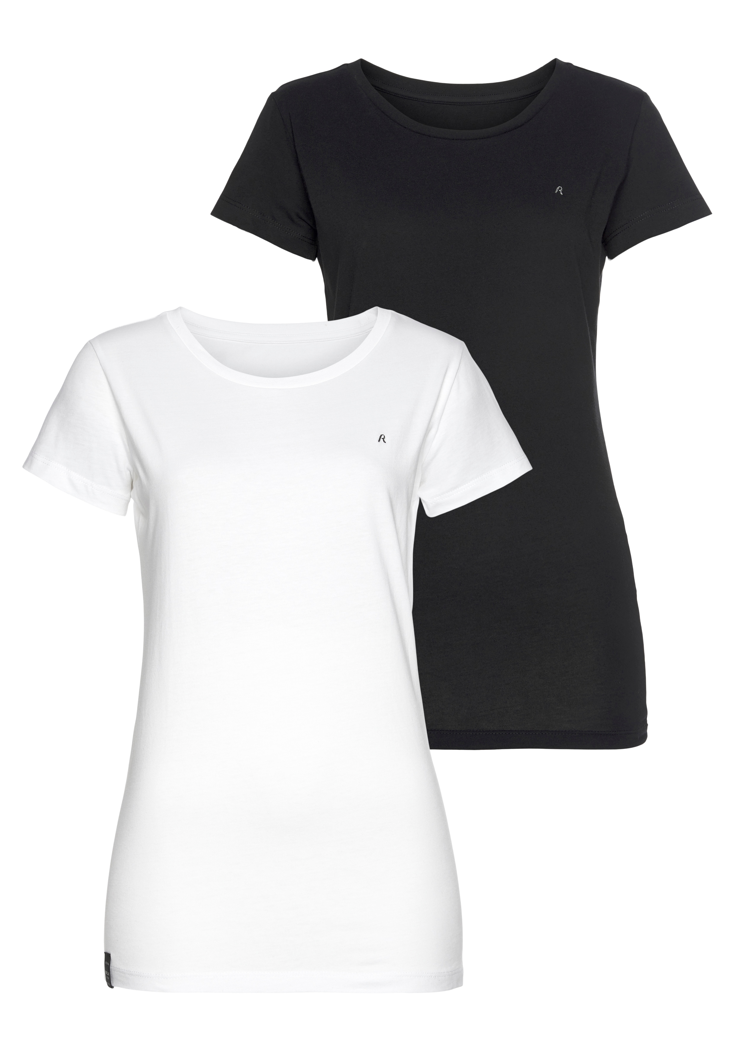 replay -  T-Shirt, mit Rundhalsausschnitt