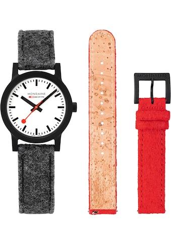 MONDAINE Schweizer Uhr »essence, MS1.32110.LH.SET«, (Set, 2 tlg., inkl. Wechselband aus rotem PET-Filz) kaufen