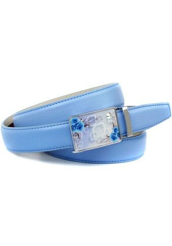 Anthoni Crown Ledergürtel, stilvoll in hellblau mit silberfarbener Schließe kaufen