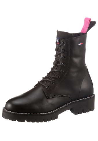 Tommy Jeans Schnürboots »TOMMY JEANS LEATHER LACE UP BOOT«, mit farbiger Anziehlasche kaufen