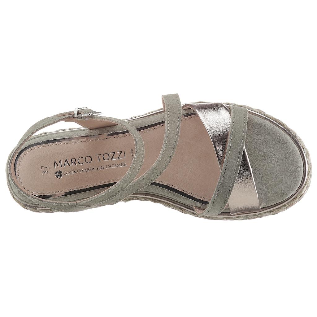 MARCO TOZZI by GMK Plateausandale, mit schönem Metallic-Riemchen