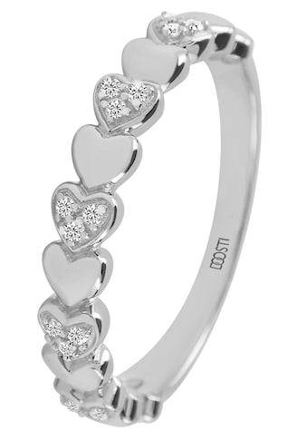 DOOSTI Fingerring »HEART, SI-R-46-RH, SI-R-46-RG«, mit Zirkonia (synth.) kaufen
