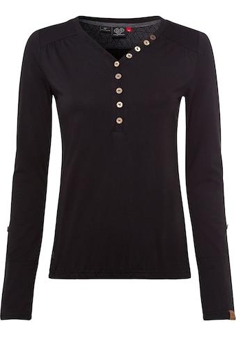 Ragwear Langarmshirt »PINCH SOLID«, mit Knopfleiste in Holz-Optik kaufen