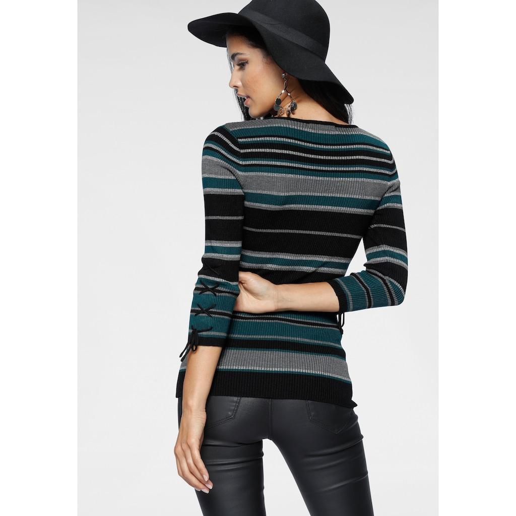 Melrose V-Ausschnitt-Pullover, mit Glitzergarn und Schnürung