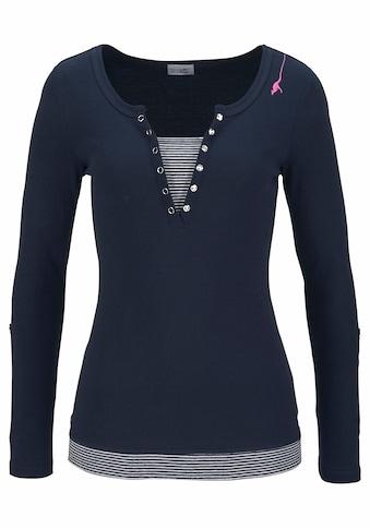 KangaROOS 2-in-1-Shirt, mit geöffneter Zierknopfleiste und Turn-up Ärmeln kaufen