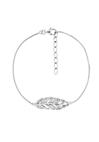 Smart Jewel Armband »Blatt mit Zirkonia Steine, Silber 925« kaufen