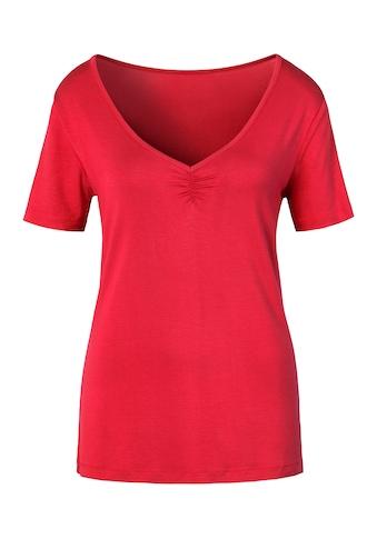 LASCANA T-Shirt, mit zarter Raffung am V-Ausschnitt kaufen