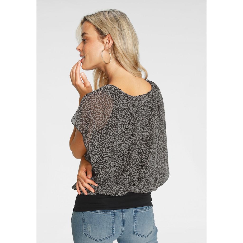 Melrose Shirtbluse, mit bedrucktem Chiffon - NEUE KOLLEKTION