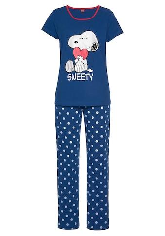 Peanuts Pyjama, mit Snoopy-Druck und Pünktchen-Hose kaufen