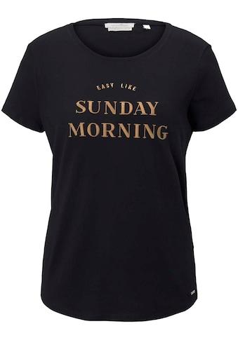 TOM TAILOR Denim T-Shirt, mit Wording-Stickerei kaufen