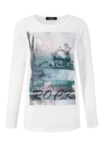 Aniston SELECTED Langarmshirt, mit glänzenden Tapes am Arm - NEUE KOLLEKTION kaufen