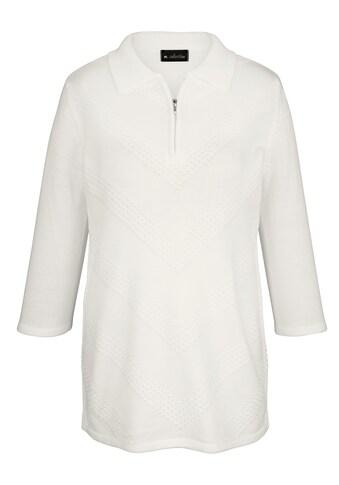m. collection Pullover mit streckendem Strickmuster im Vorderteil kaufen